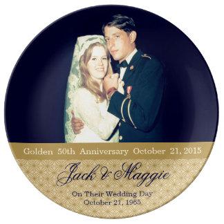50.a placa conmemorativa de oro del aniversario el platos de cerámica