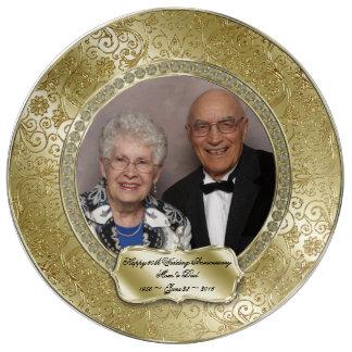 50.a placa elegante de la foto del aniversario de plato de cerámica