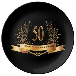 50.a placa feliz de la porcelana del aniversario d plato de cerámica