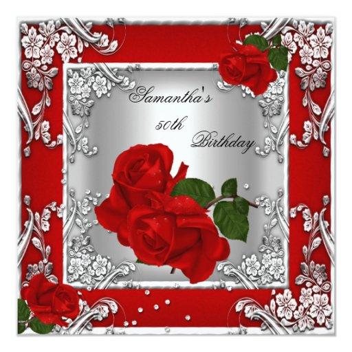 """50.a plata elegante del rosa rojo de la fiesta de invitación 5.25"""" x 5.25"""""""