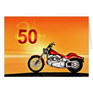 50.a puesta del sol de la motocicleta del tarjeta de felicitación