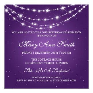 50 a púrpura de cadena chispeante de la fiesta de comunicado personalizado