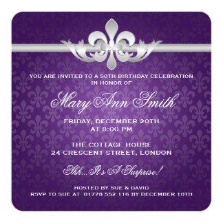 """50.a púrpura elegante de la flor de lis de la invitación 5.25"""" x 5.25"""""""