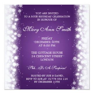 """50.a púrpura mágica elegante de la chispa de la invitación 5.25"""" x 5.25"""""""