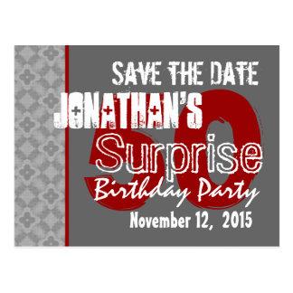 50.a reserva del cumpleaños de la sorpresa gris tarjetas postales