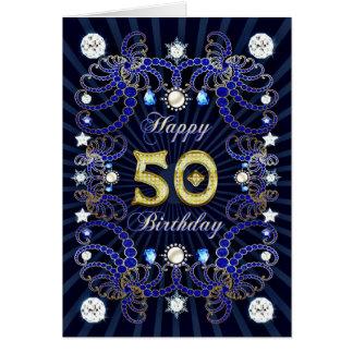 50.a tarjeta de cumpleaños con las masas de joyas