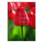 50.a tarjeta de cumpleaños de los tulipanes