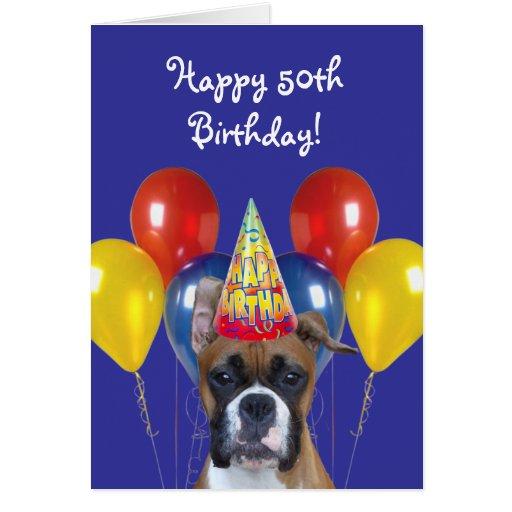 50.a tarjeta de felicitación feliz del perro del b