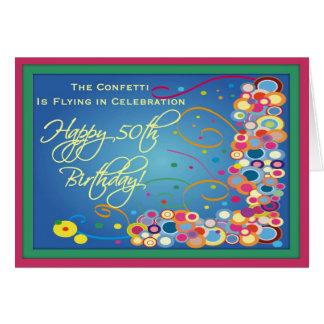 50 a tarjeta del confeti del cumpleaños de la diva