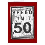 50.a tarjeta divertida del límite de velocidad del