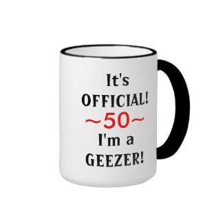 50 a taza del cumpleaños del Geezer divertido