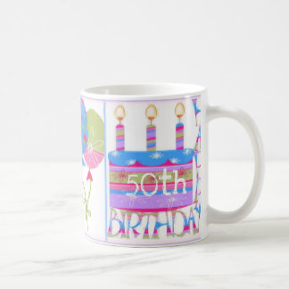 50.a taza feliz del cumpleaños