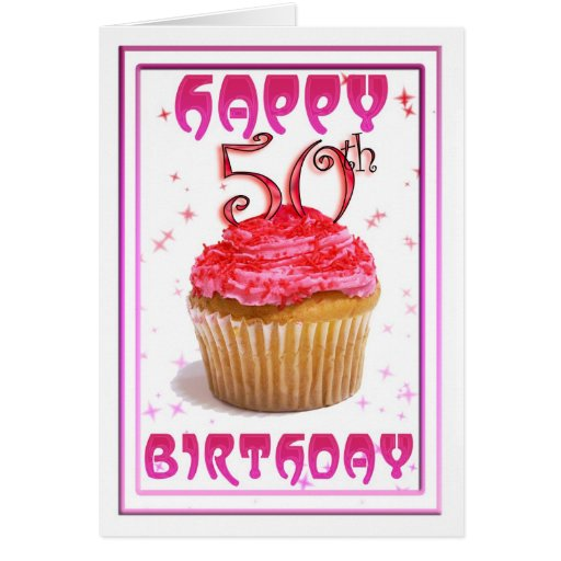 50.a torta feliz de la taza dulce del cumpleaños tarjeta de felicitación