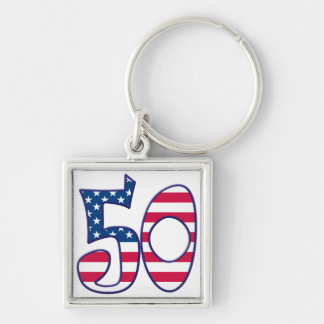 50 Age USA Silver-Colored Square Keychain