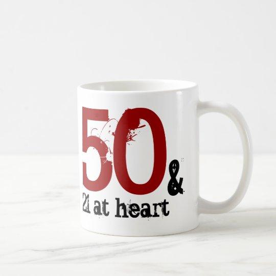 50 and 21 at Heart Custom Name Birthday Coffee Mug