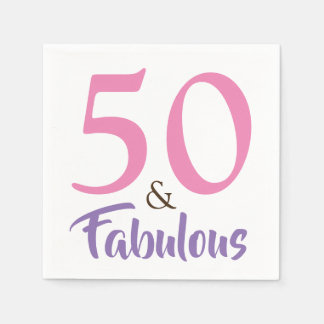 50 and Fabulous 50th Birthday Party Paper Napkin