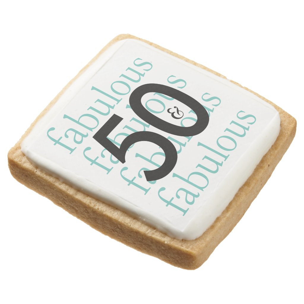 50 and Fabulous 50th Birthday Theme Square Shortbread Cookie