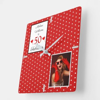 50 and Fabulous Add Photo Red 50th Birthday WH Red Square Wall Clock