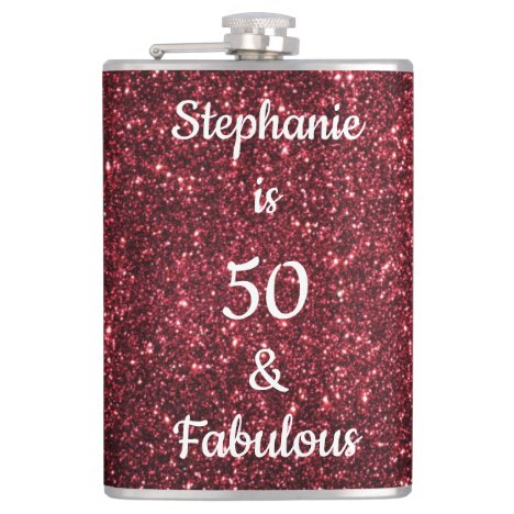 50 And Fabulous Birthday Burgundy Red Pink Glitter Flask