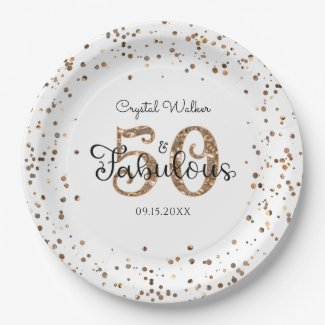 50 AND FABULOUS Birthday Elegant Copper Gold Name Paper Plate