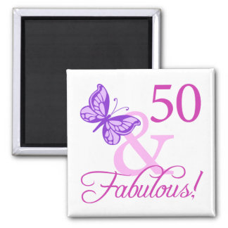 50 And Fabulous Birthday Gifts (Plum) 2 Inch Square Magnet
