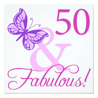 50 And Fabulous Birthday Gifts (Plum) Card