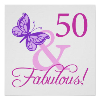 50 And Fabulous Birthday Gifts Plum Posters