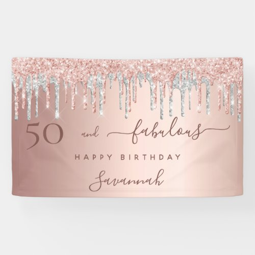 50 and Fabulous birthday glitter rose gold silver Banner