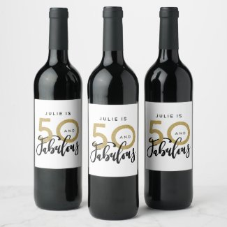 50 and fabulous birthday party label
