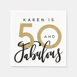 50 and fabulous birthday party napkins