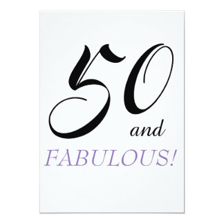 50 and Fabulous Birthday Party Paper Invatations Card