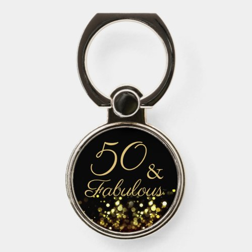 50 and Fabulous Black and Gold Birthday Phone Case