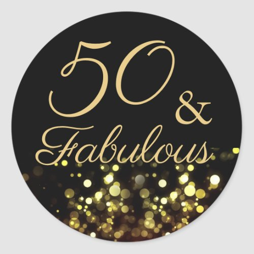 50 and Fabulous Black and Gold Birthday Sticker