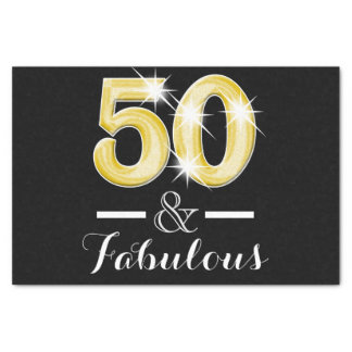"50 and fabulous black gold birthday 10"" x 15"" tissue paper"