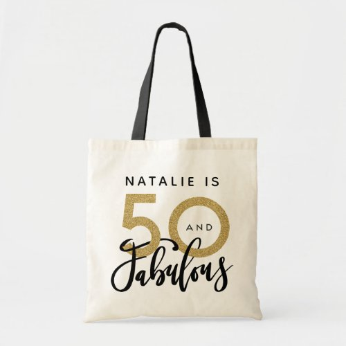 50 and fabulous black gold birthday tote bag