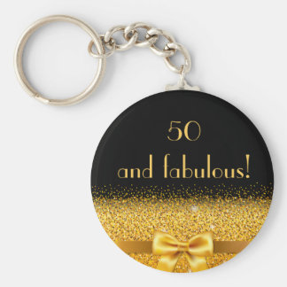 50 and fabulous Chic golden bow with sparkle black Keychain