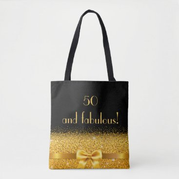 birthday 50 and fabulous Chic golden bow with sparkle black Tote Bag