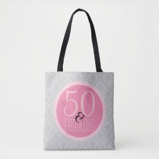 50 and Fabulous Chic Pink Gray Damask Tote Bag