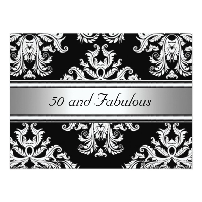 50 and Fabulous Damask Birthday Party Card