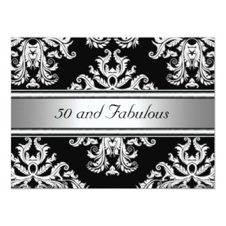 50 and Fabulous Damask Birthday Party 6.5x8.75 Paper Invitation Card