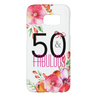 50 and Fabulous Elegant 50th Birthday Party Samsung Galaxy S7 Case