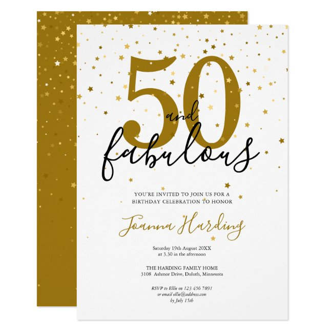 50 and Fabulous Elegant Gold and Black Birthday Invitation