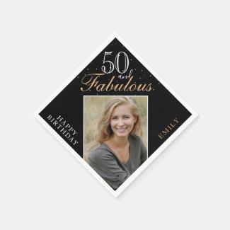 50 and Fabulous Elegant Photo Black 50th Birthday Napkins