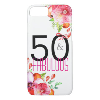 50 and Fabulous Floral 50th Birthday Party iPhone 8/7 Case