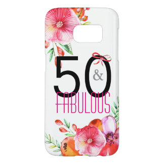 50 and Fabulous Floral 50th Birthday Party Samsung Galaxy S7 Case
