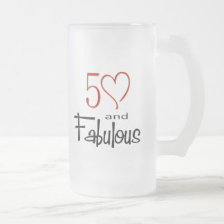 50 and Fabulous Frosted Glass Beer Mug