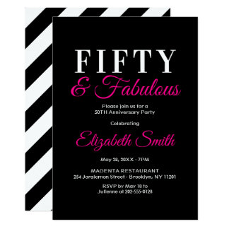 50 and Fabulous Glamourous Hot Pink 50th Birthday Card