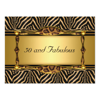 "50 and Fabulous Gold  Birthday Party Invitation 6.5"" X 8.75"" Invitation Card"