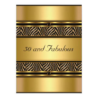 50 and Fabulous Gold  Birthday Party Invitation Announcement