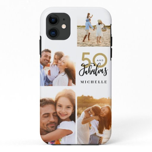 50 and fabulous gold black photo birthday  iPhone 11 case